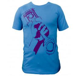 Races rövid ujjú (T-Shirt) Piston & rod égszínkék