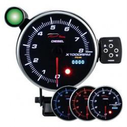 DEPO Programozható fordulatszámmérő óra dual view 115mm - dizeles