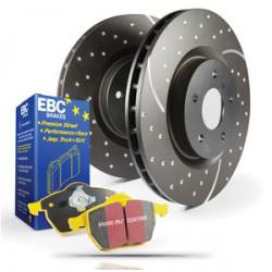Еlső szett EBC PD13KF045 - Féktárcsák Turbo Grooved + Fékbetétek Yellowstuff