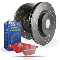 Hátsó szett EBC PD12KR185 - Féktárcsák Turbo Grooved + Fékbetétek Redstuff Ceramic