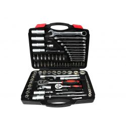 Szerszámkészlet - racsnik, adapterek, hosszabbítók és dugókulcsok 1/2 és 1/4 - 94 db